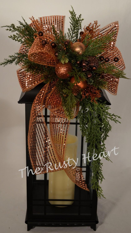 Christmas Lantern Swag With Bronze Mesh Ribbon
