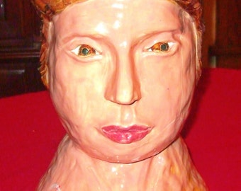Large Pottery Head Hand Sculpted ! Very Unusual - Attention Getter - Conversation Piece