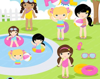 GIRLS POOL PARTY Clipart,  Pool party clipart , Swim Girls Digital Clipart Set, Summer girls clip art, for personal and commercial use