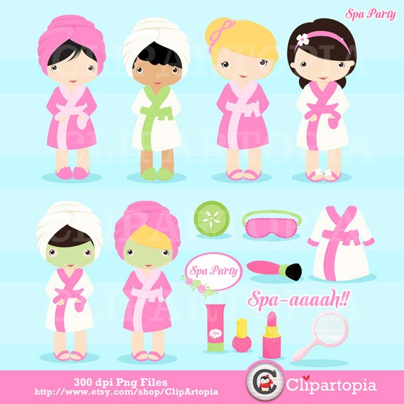 Nails Art Salon For Girls: Spa Party Digital Clipart / Girls Spa Party Cute Clip Art For