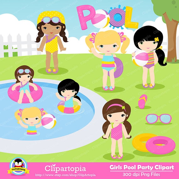 GIRLS POOL PARTY Clipart Pool Party Swim Girls Digital