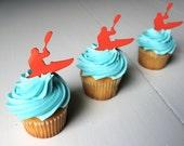 12 Kayak Cupcake Toppers (Acrylic)