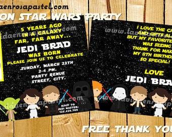 Printable Stars Wars Invitation - FREE thank you card - Stars Wars Birthday Party Invitation - Digital File