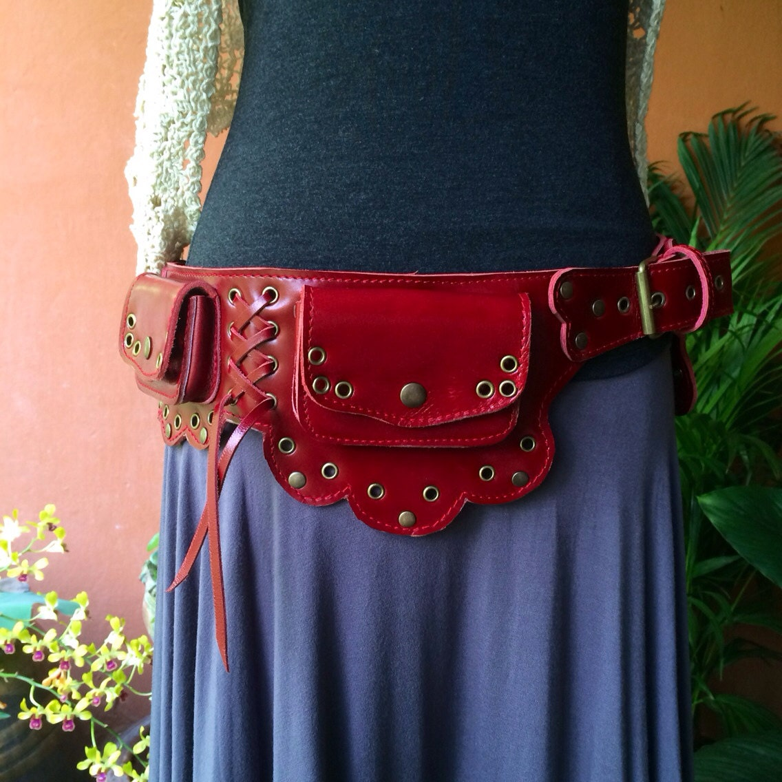 Leather Utility Belt Red The Lotus Pocket Belt,Steampunk