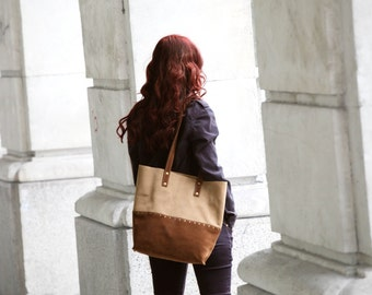 Suede tote bag. Beige / brown shoulder bag.