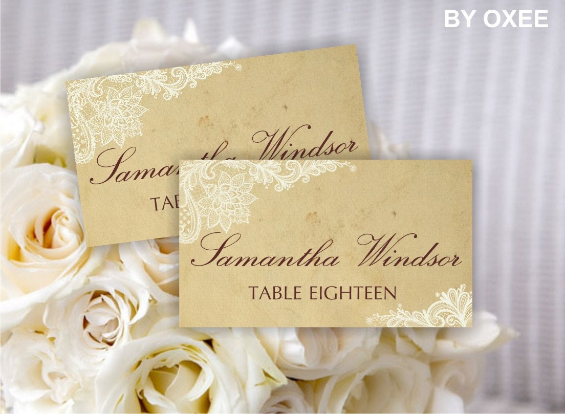 Printable wedding place card template | Vintage paper and ivory lace ...