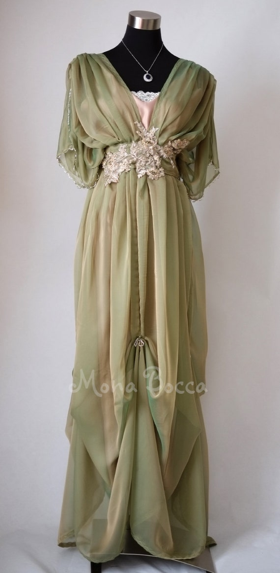 1900-1910s Clothing Edwardian dress Downton Abbey inspired handmade in England dress Lady Mary styled Express delivery $269.83 AT vintagedancer.com