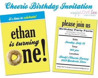 Cheerios Birthday Party Invitation - digital, first birthday, cheerios, ingredients