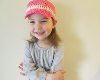 Baseball Cap cotton, Boys and Girls Baseball Hat, Crochet Child's Summer Hat, Various Sizes, Various Colours