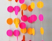 Neon garland, Birthday party decor, Pink orange garland, Hawaiian party decorations, Summer decoration, Nursery decor, Neon wedding