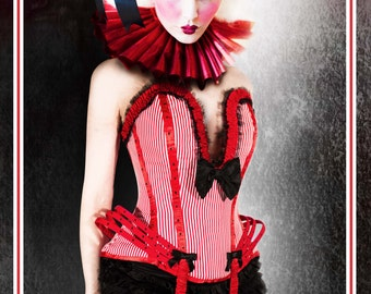 RED CIRCUS Burlesque COSTUME in candy-stripe cotton, made to order, steel boned corset, custom size.