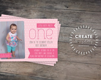 Pink First Birthday Invitation. Baby Girl. 1st Birthday. Custom Digital Printable