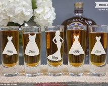 Personalized Shot Glass Bridesmaid Gift - (ONE) Custom Dress Silhouette Shot Glass Round - Personalized Shot Glass - Bridal Party Favor