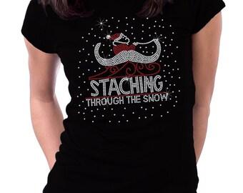 Staching Through the Snow Christmas Rhinestone Shirt