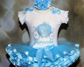 Cinderella Carriage Princess Birthday Tutu Outfit Blue and Silver 2 piece Baby tutu Princess 2nd birthday tutu dress Fancy Cinderella tutu