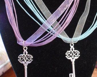 Woodland Faeire Key Ribbon Necklace