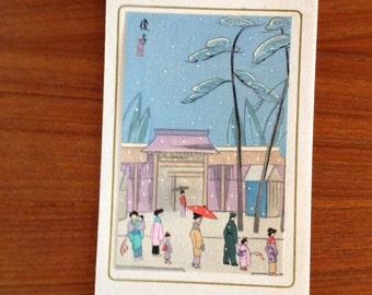 Finest Shinagawa's Japanese Color Woodblock Woodcut Block Print - Purple temple