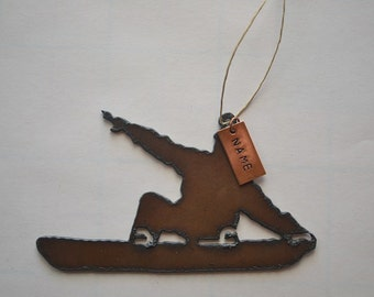 SNOWBOARDER made of Rustic Rusty Rusted Recycled Metal Custom PERSONALIZED SNOWBOARDER / Snowboarding / Winter / Ski Ornament or Magnet