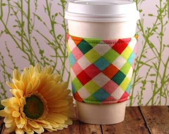Fabric Coffee Cozy / Colorful Diamond Print Coffee Cozy / Diamond Coffee Cozy / Coffee Cozy / Tea Cozy