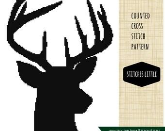 Deer Cross Stitch Pattern - Modern Cross Stitch - Antler Cross Stitch - PDF Pattern - Instant Download