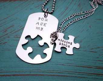 You Are My Missing Piece, Boyfriend Gift, Puzzle Piece, Dog Tag Necklace, Husband Gift, Forever and Ever, Valentines Gift, Couples necklace
