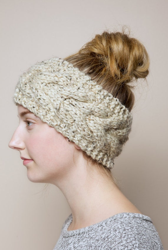 Cable knit headband in Oatmeal Brown chunky by PikaPikaCreative