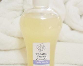 Dreamy Lavender,  Organic Relaxing Body Wash, 8oz size.