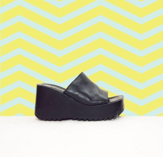 90s Black Leather Platform Chunky Wedge Slides Sandals
