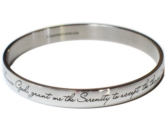 Serenity Prayer Bangle Bracelet | NA Narcotics Anonymous | AA Alcoholics Anonymous | Sober Gift | God Grant Me | Recovery | Anniversary