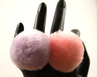 Cute Fluffy Pastel Pompom Ring Set Adjustable Fairy Kei Style