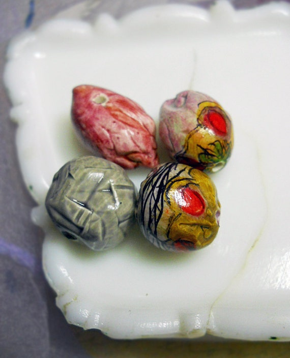 Polymer Clay Beads - 4 Rustic Illustrated & Glazed Beads - Textured Pod Charm, Geometric Nugget, Abstract Botanical - Grey, Coral Rose, Gold