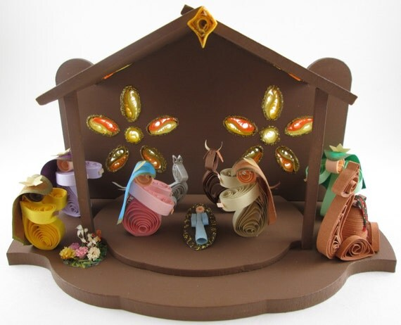 ... Nativity Set , Paper Quilling Nativity , Nativity Scene Sculpture