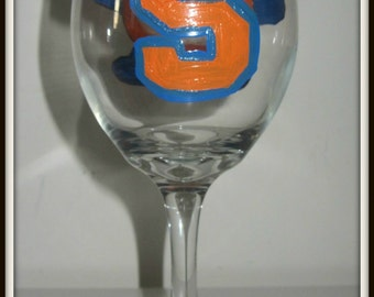 Hand Painted College Wine Glass