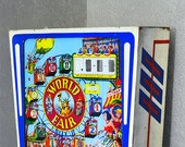 Vintage World Fair Pinball Machine Head Box. Painted Glass. Rare. Vibrant Color. Very Collectible.1964.