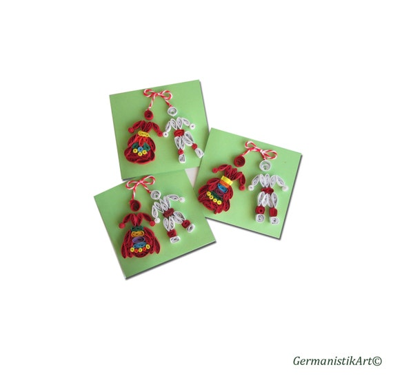 Martenitsa Quilling Set, Baba Marta Quilling Set, Quilling Cards with Bulgarian White Red Dolls