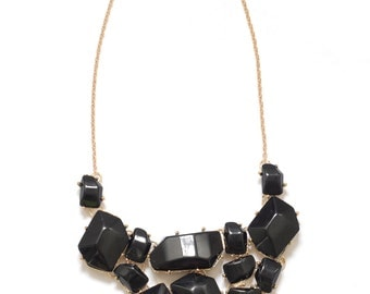 Black geometric necklace, black statement necklace