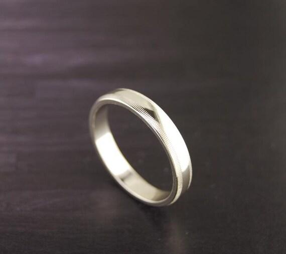 plain milgrain silver ring band 4mm 925 by silvershowroom
