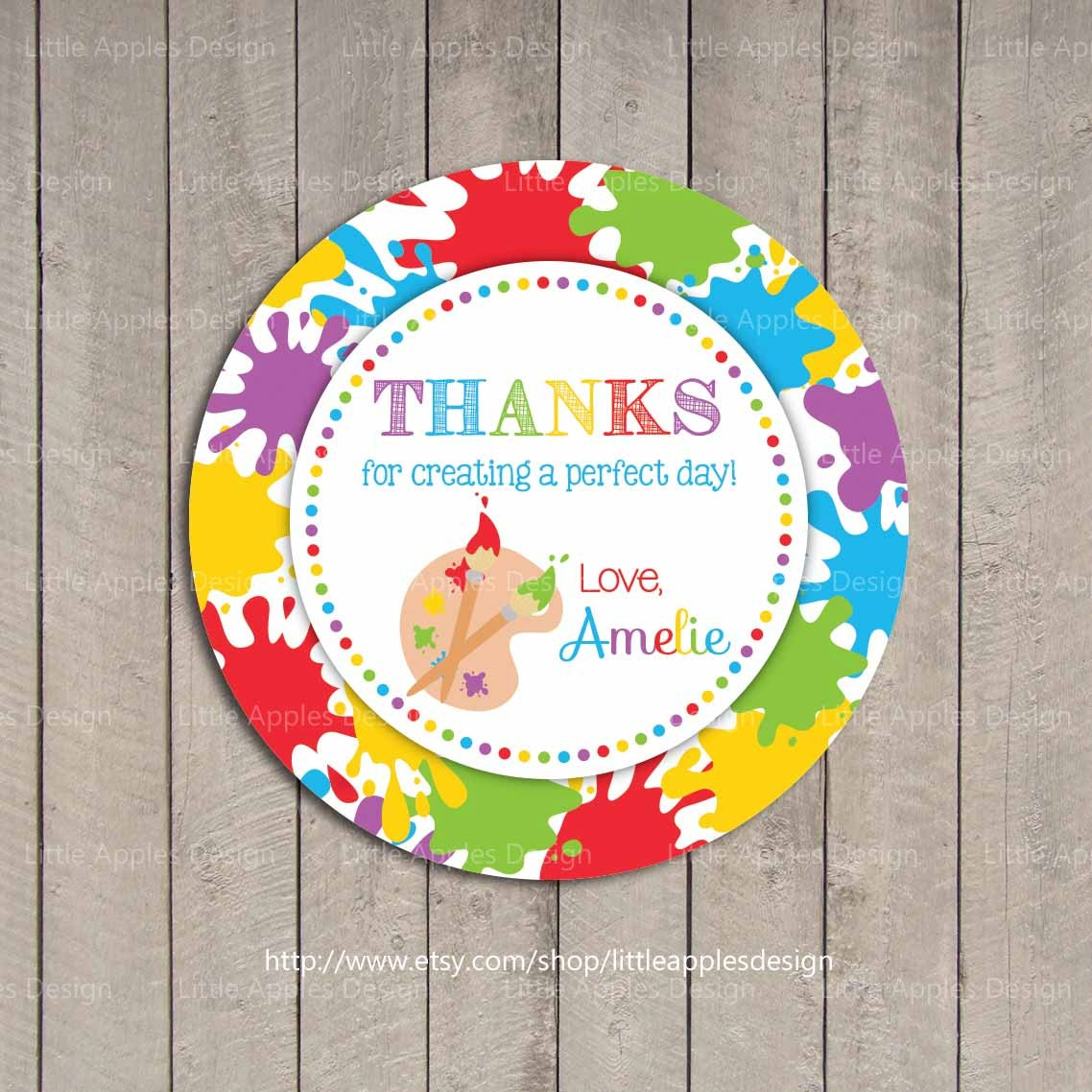 Art Party Favor Tags / Kids Art Party Favor Tags / Printable