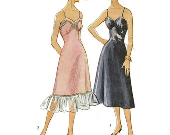 1950s Slip, Bust 34, Fitted Bodice, Shaped Skirt for Neat Waistline, Ruffle, Lace Insertion - Vintage Sewing Pattern, Simplicity 4126