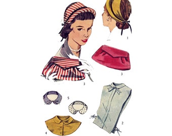 1950s Hat, Dickeys, Collar & Handbag - Softly Pleated Clutch Style - Vintage Sewing Pattern - Simplicity 4195