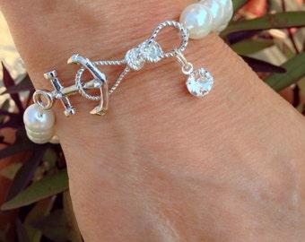 Glass Pearl Anchor Bracelet w/ Swarovski Charm (also available w/ Swarovski Charm and Initial Charm)