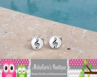 Treble Clef Cufflinks Treble Clef Tie Clip Musical Note Cufflink Music Note Tie Clip Music Cufflinks Cuff Links Silver Plated Gifts for Him