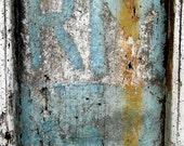 Fine art print photography : French graffiti on blue door, France photography, urban graffiti, loft decor, industrial decor, gift for him.