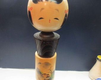 Large Vintage Unique Naruko Kokeshi Doll with Wrap Around Her Middle With Drawing