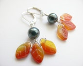 Sterling Silver Earrings with Swarovski Pearls and Czech Glass, Fall Leafs, Autumn Earrings, Orange Black Earrings, Gift for Her