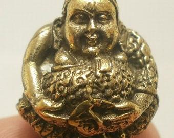 Thai mini brass ball amulet Sangkajai hotei budai happy Buddha blessed for wealth good luck success attraction Thailand nice lucky gift