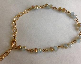 Fire polished light Aqua Czech Beaded Gold Chain Anklet Bracelet
