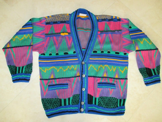 RESERVED FOR TURKEYNECK Authentic Coogi Cardigan Sweater Size Medium /Vibrant colors, Vintage Coogi Textured Cotton sweater