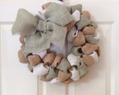 Camoflauge Burlap Wreath Military Support 15 inch