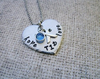 Juvenile Diabetes/ T1D support Hand Stamped Jewelry- diabetes awareness- necklace